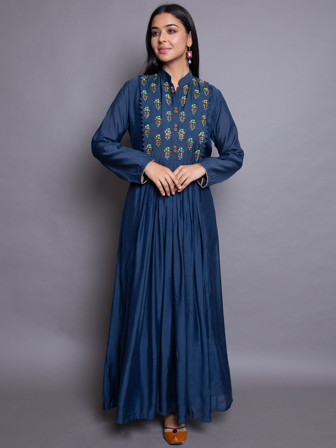 NAVY BLUE FRILLED GOWN