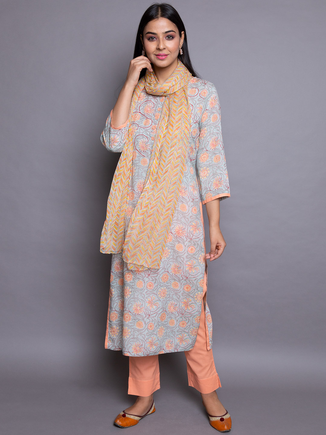 Printed Suit with Silk Dupatta