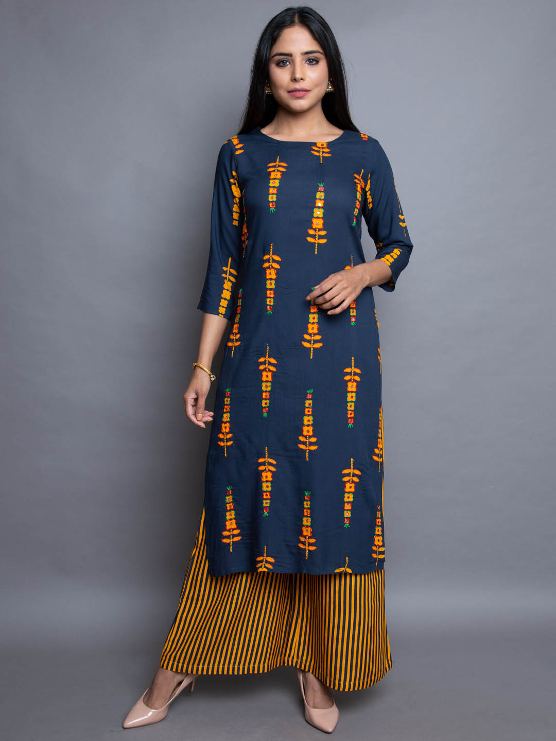 COTTON MODALE THREAD EMBROIDERY SUIT