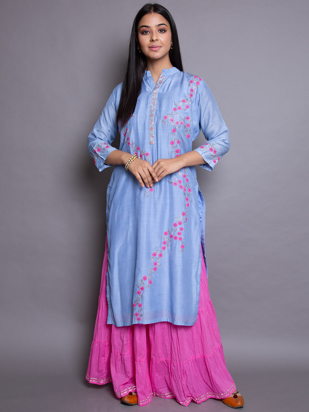 Silk suit With Sharara