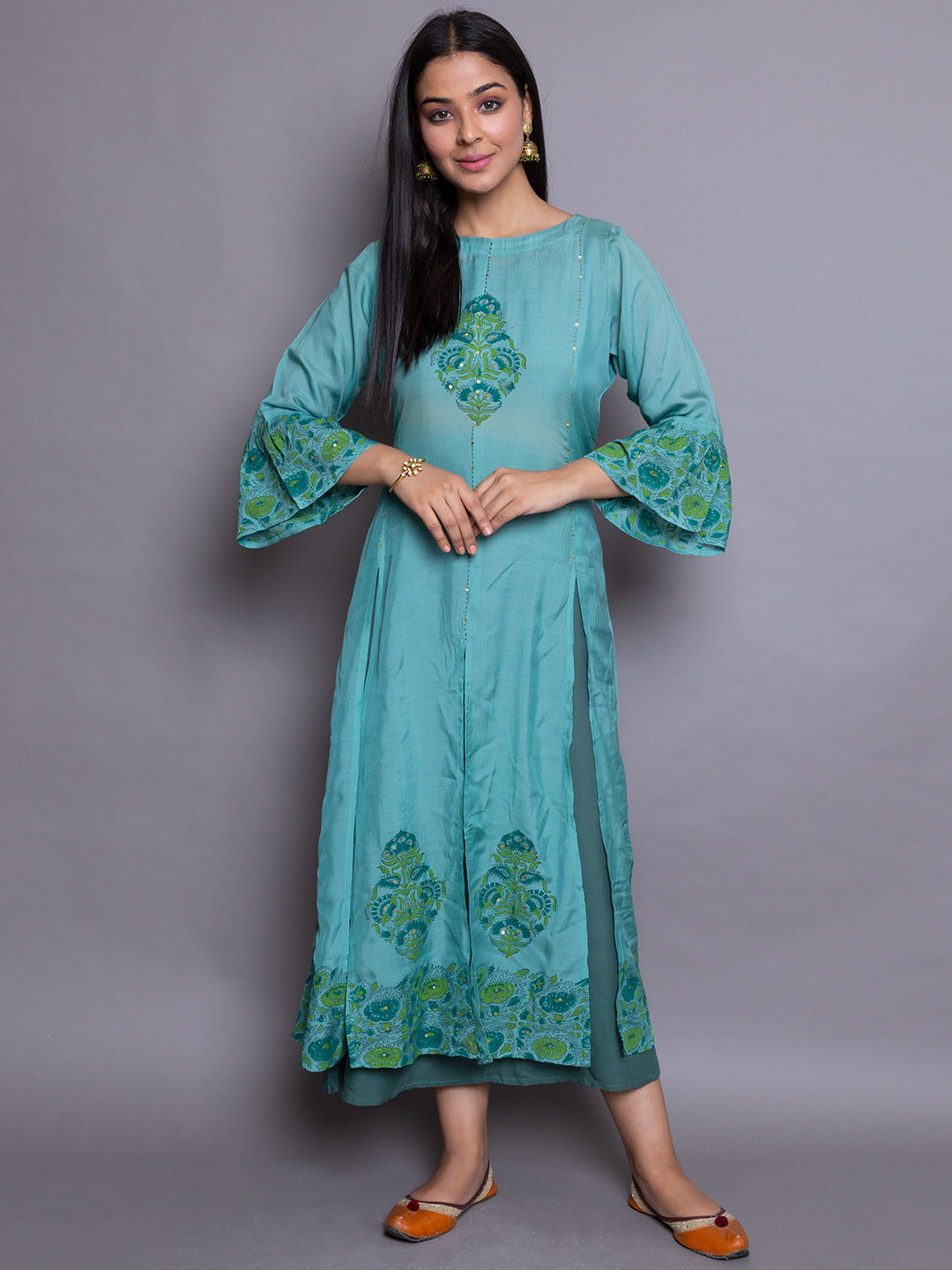 Greenish Embroidery suit