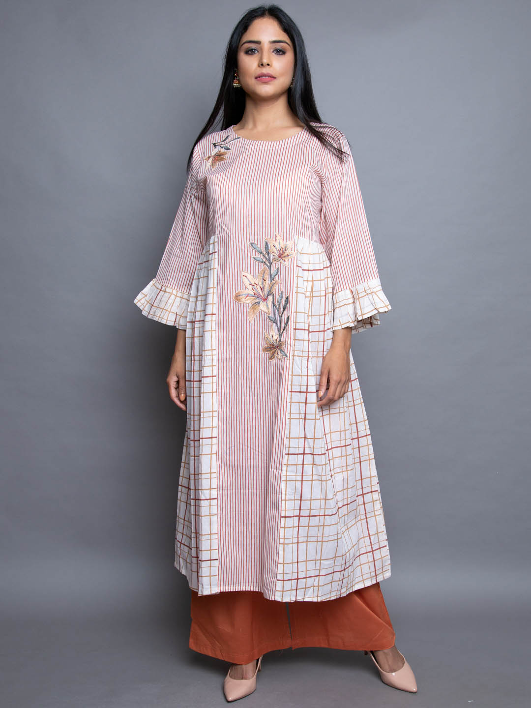 COTTON EMBROIDERY SUIT WITH PLAZZO