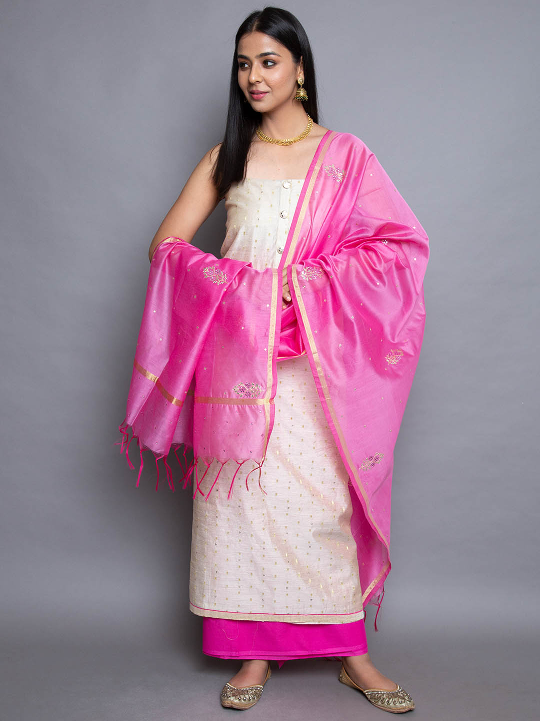 Silk Printed Suit With Embroidery Dupatta