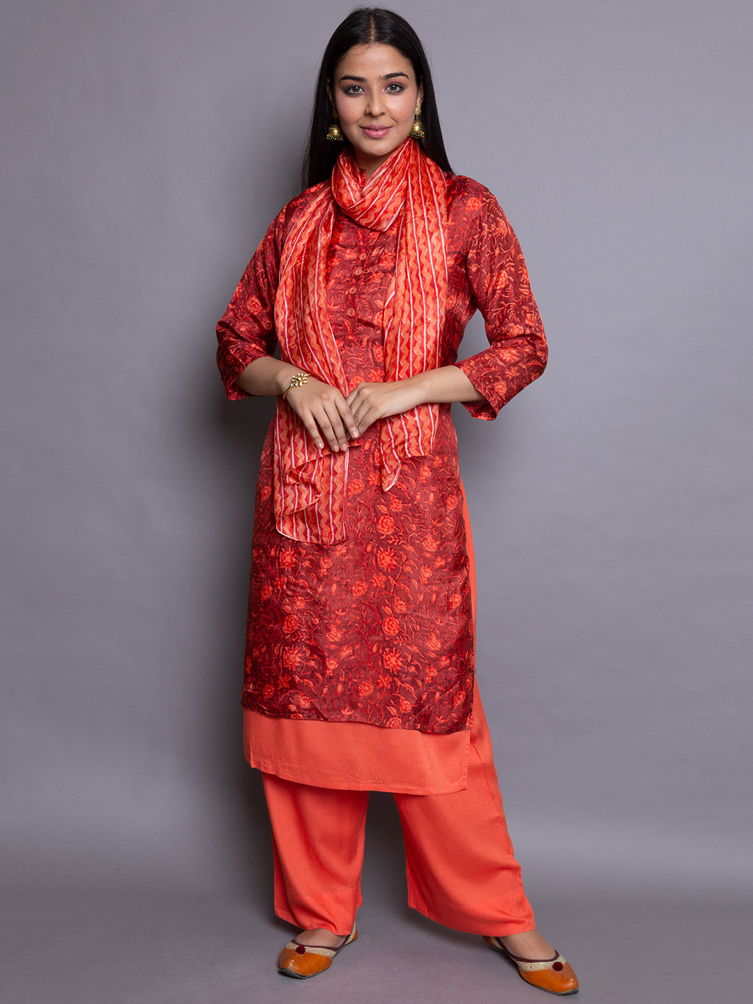 RED PRINTED SUIT WITH DUPATTA