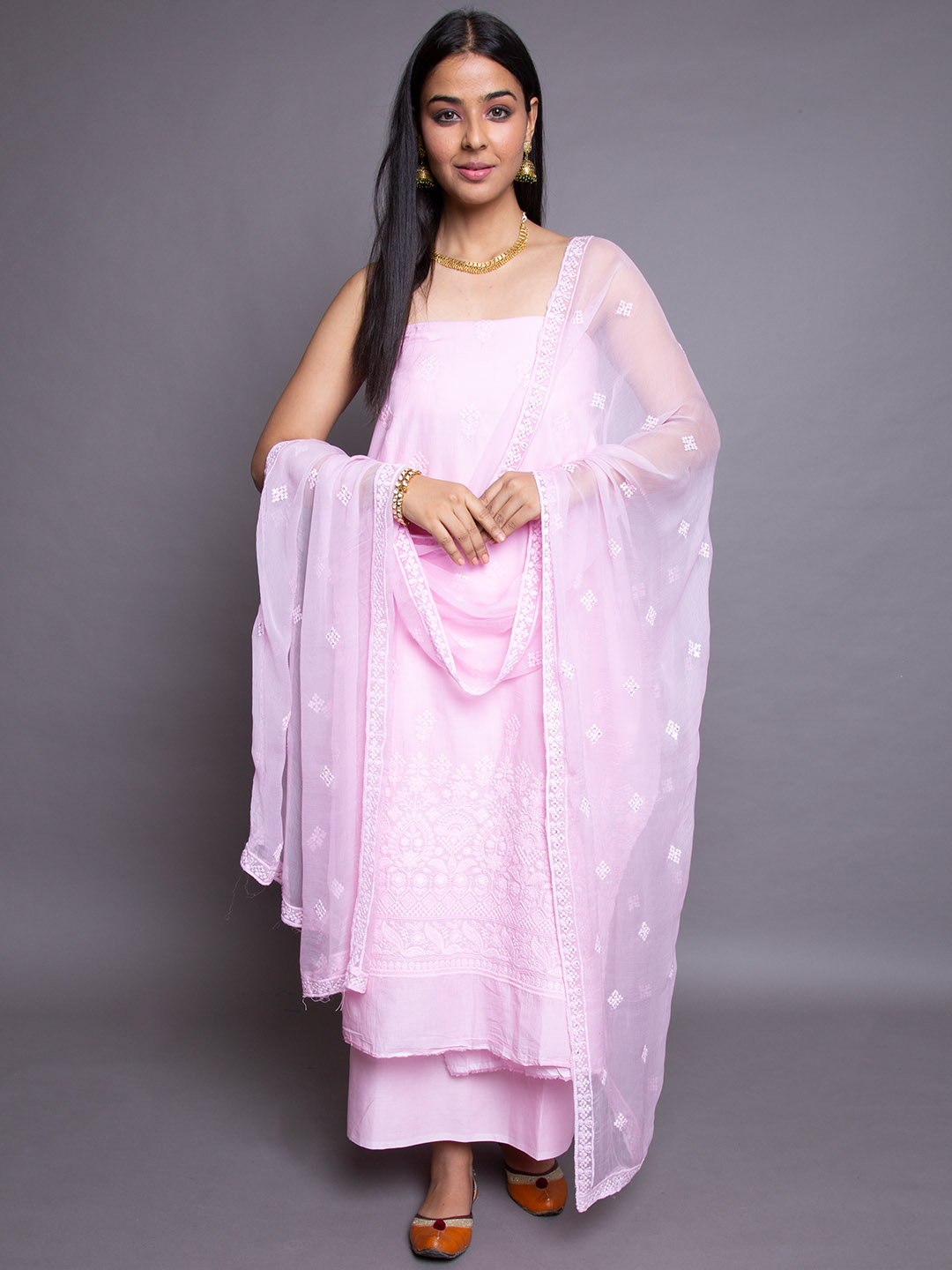Pure Chickan Suit With Dupatta