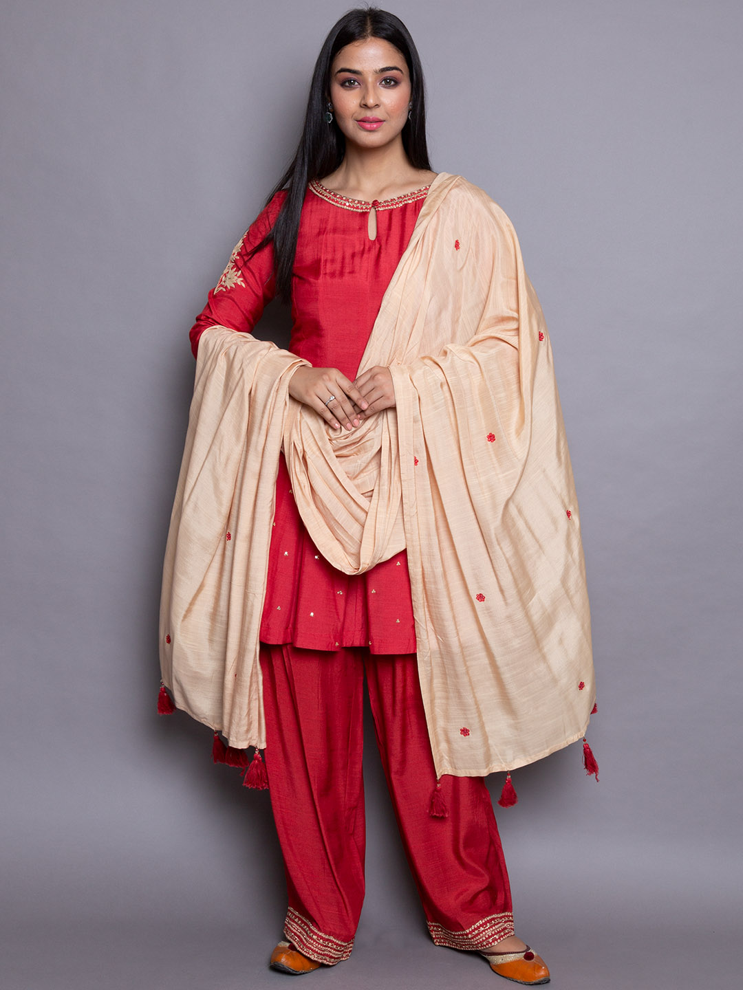 Red Frock Suit with Salwar