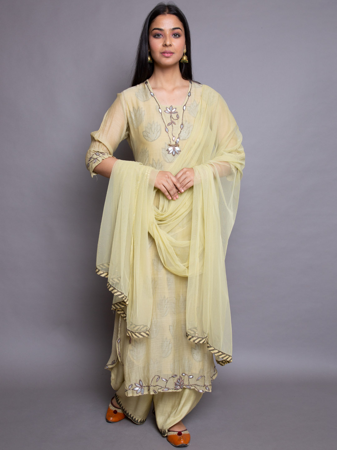 Embroidery Suit With Net Dupatta