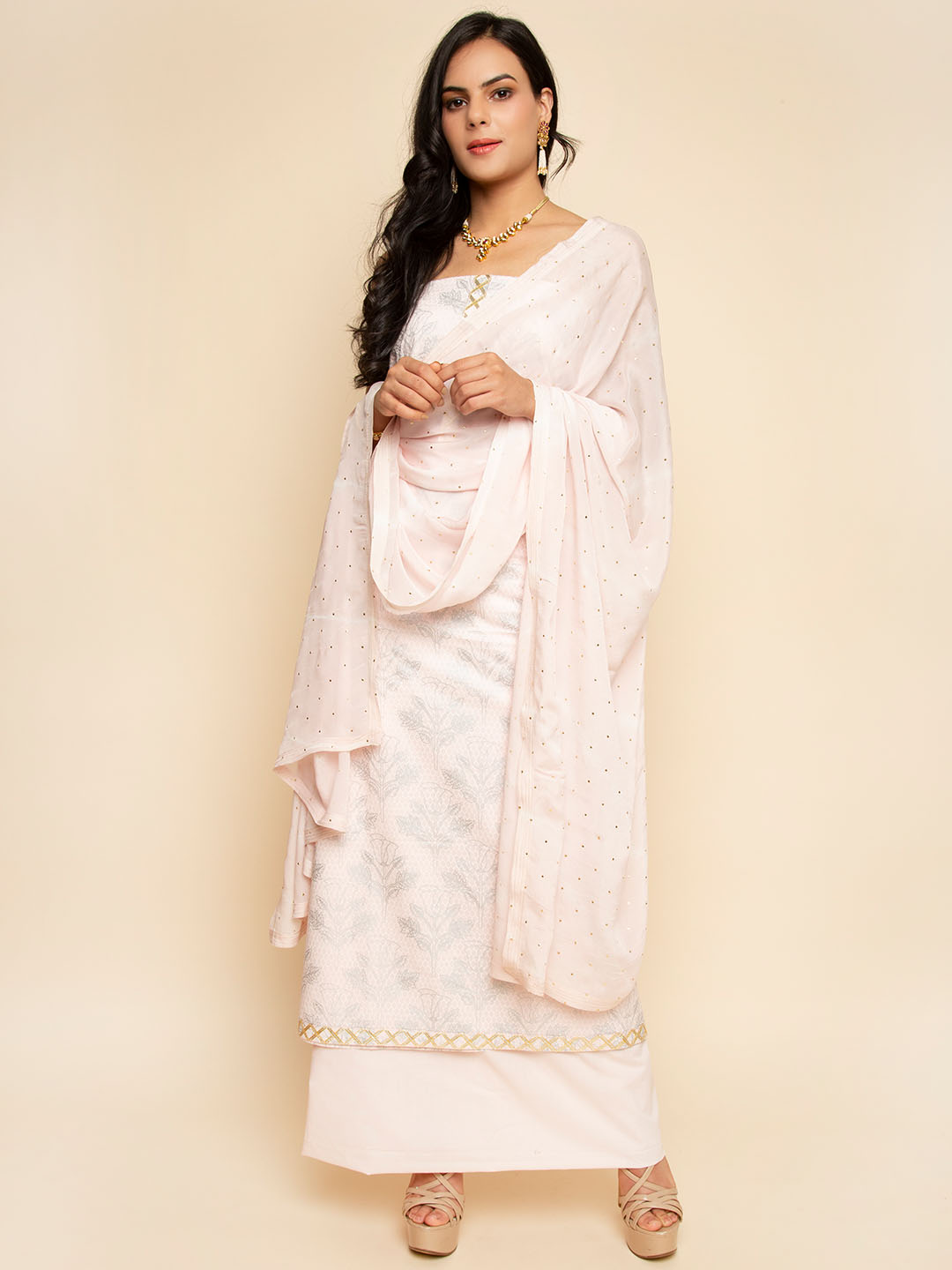Light pink color print  gota embroidred suit  with chiffon dotted dupatta