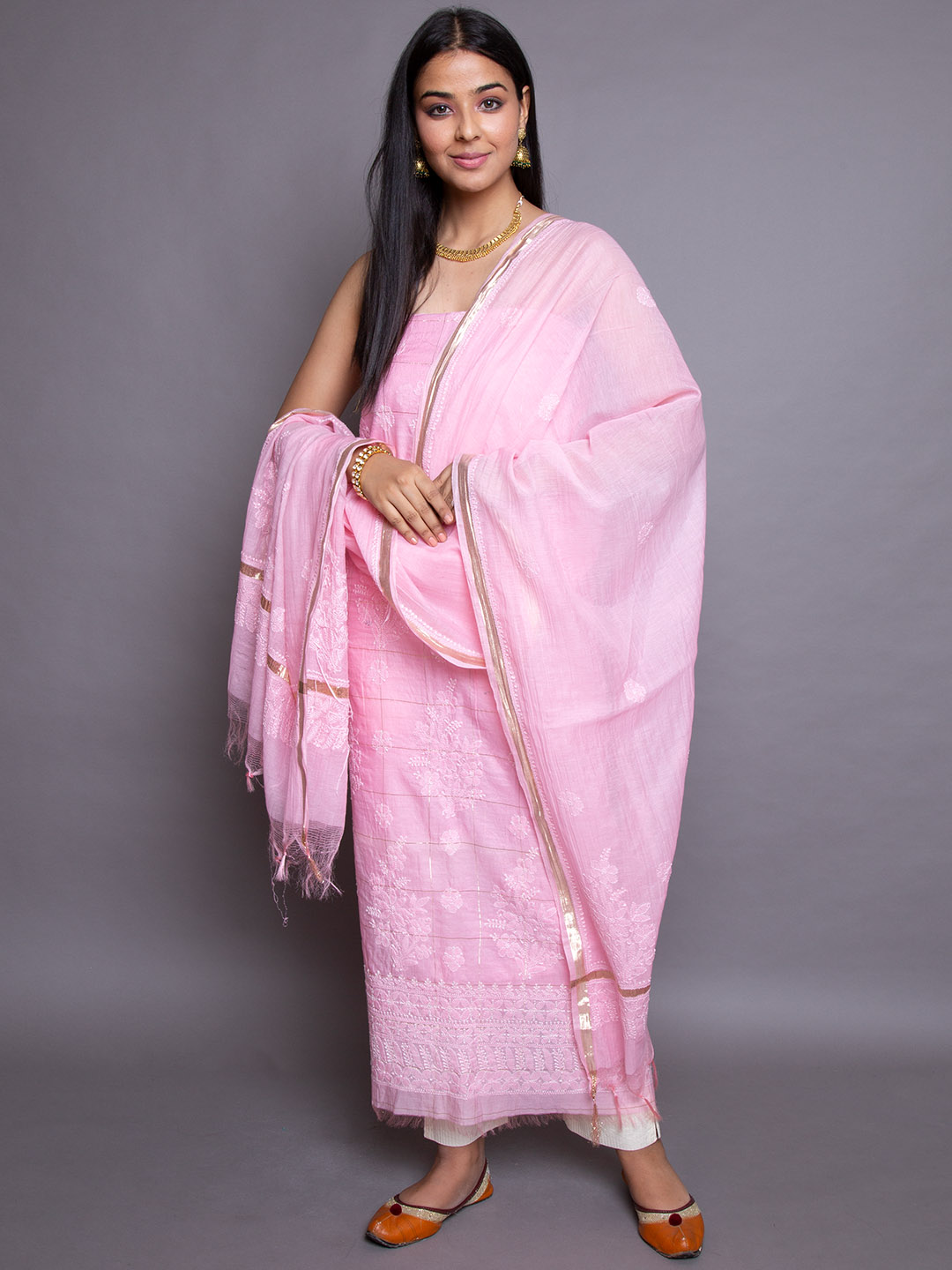 Embroidery Suit With Cotton Dupatta
