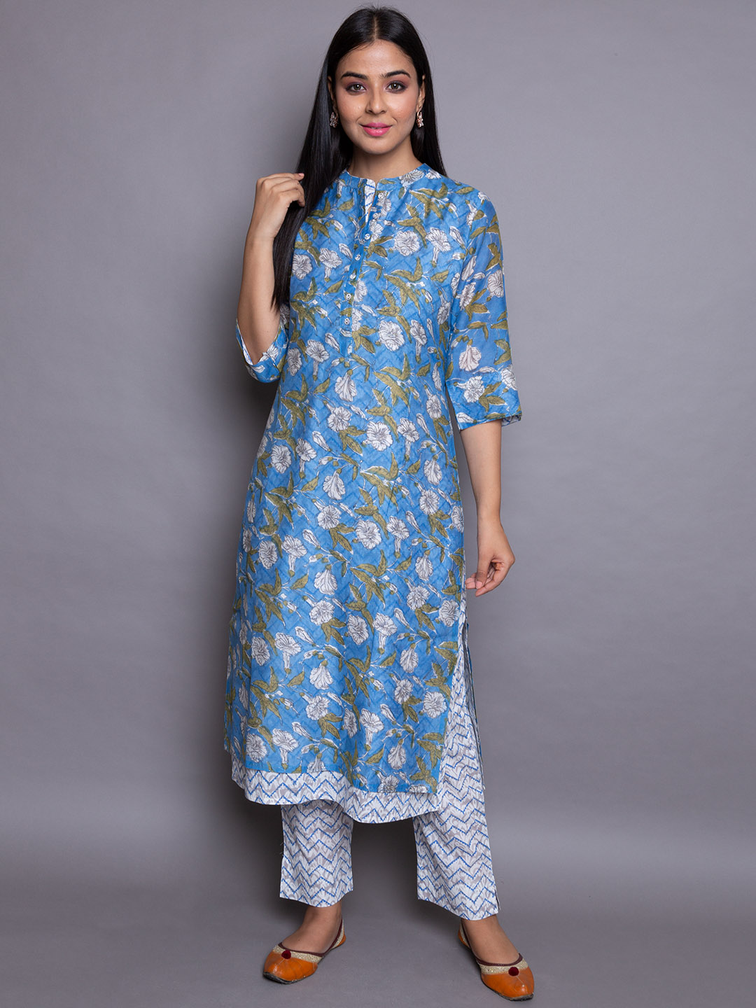 Flower Suit With Zig Zag Printed Pant