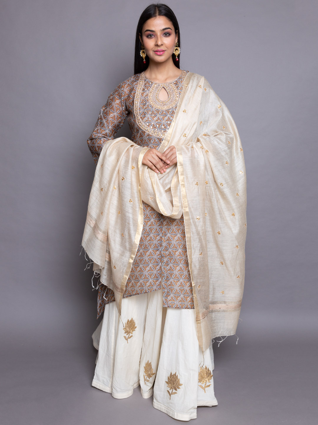 Gota Embroidery Suit With  Sharara
