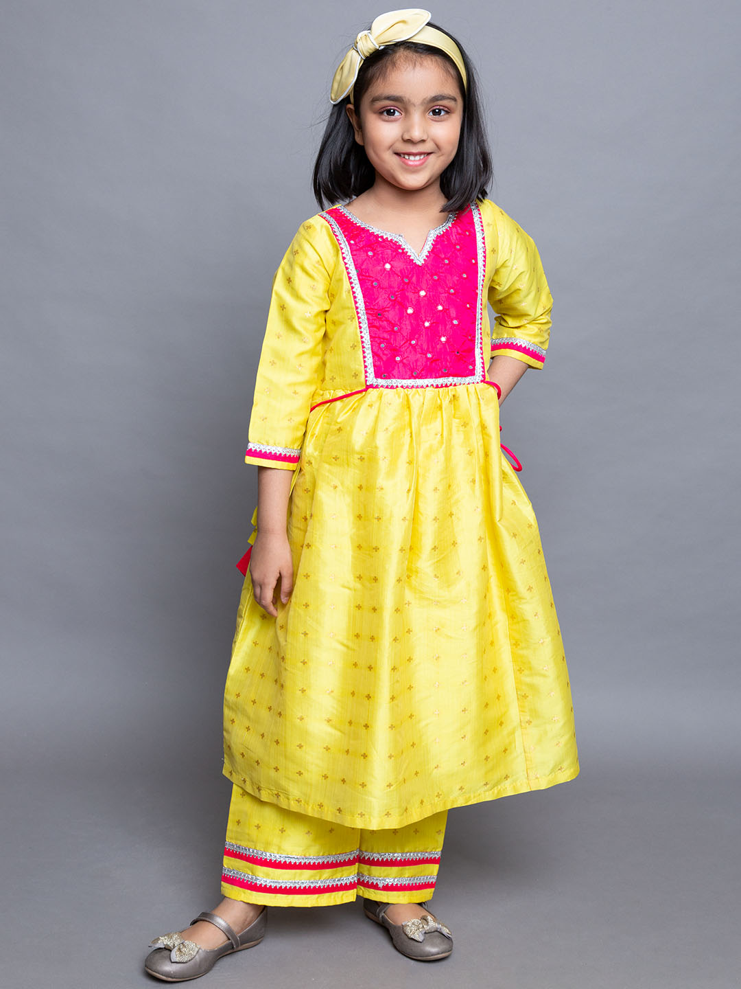Mirror Embroidered Yellow frock suit with Pink patch work and straight pants