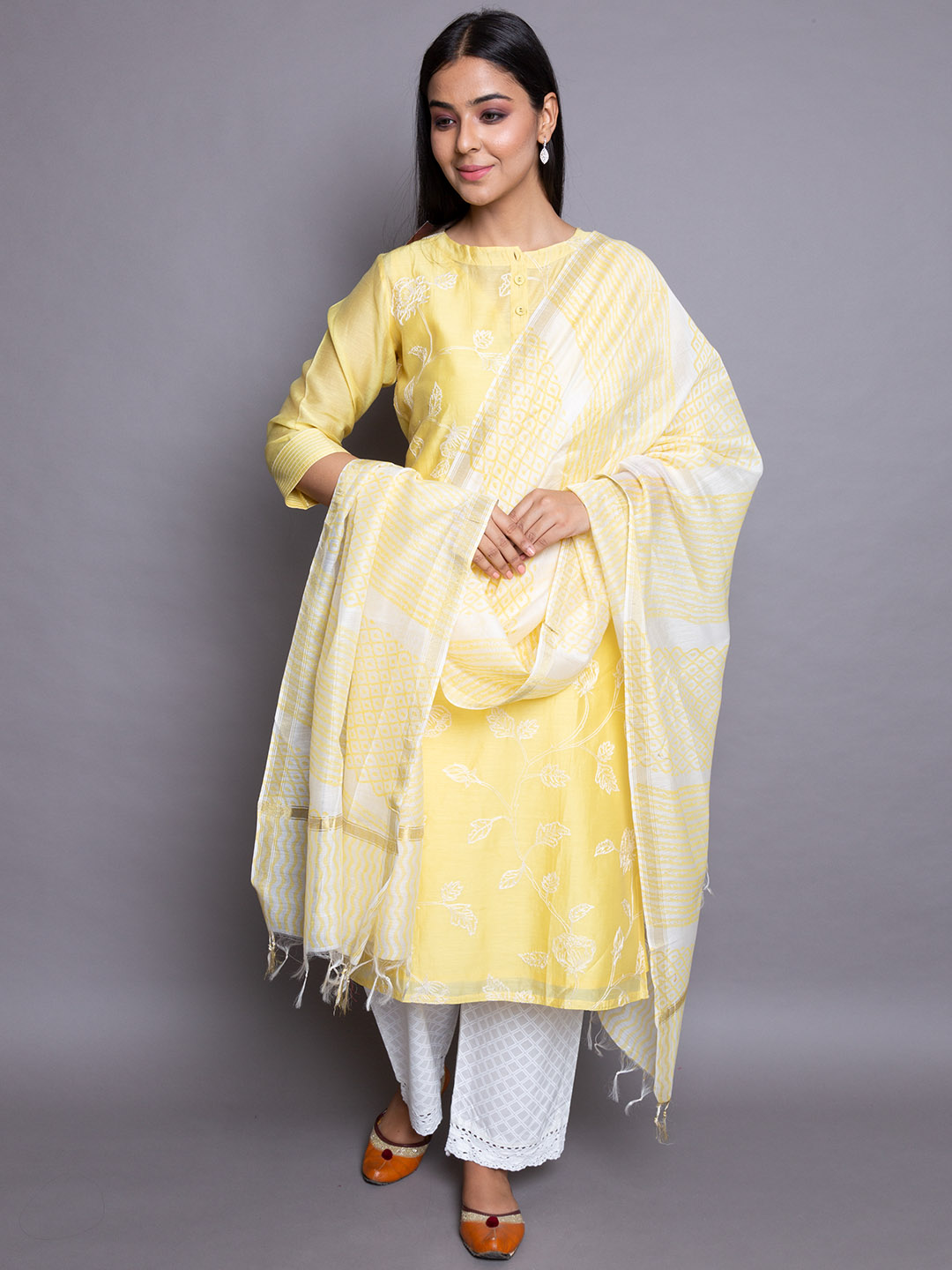Yellowish suit with cotton dupatta