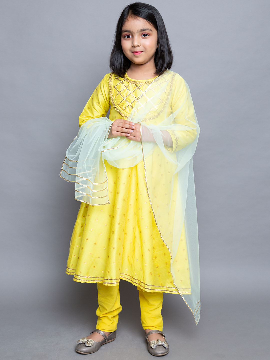 Gota Embroidered work  Lemon Yellow colour  Suit  with Net dupatta and yellow leggings