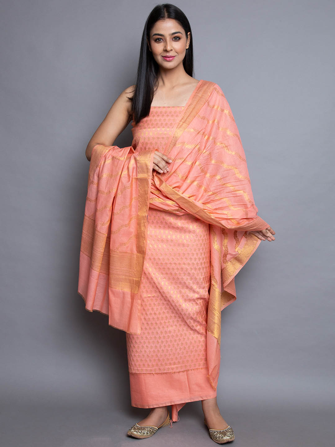 SILK SUIT WITH PRINTED DUPATTA