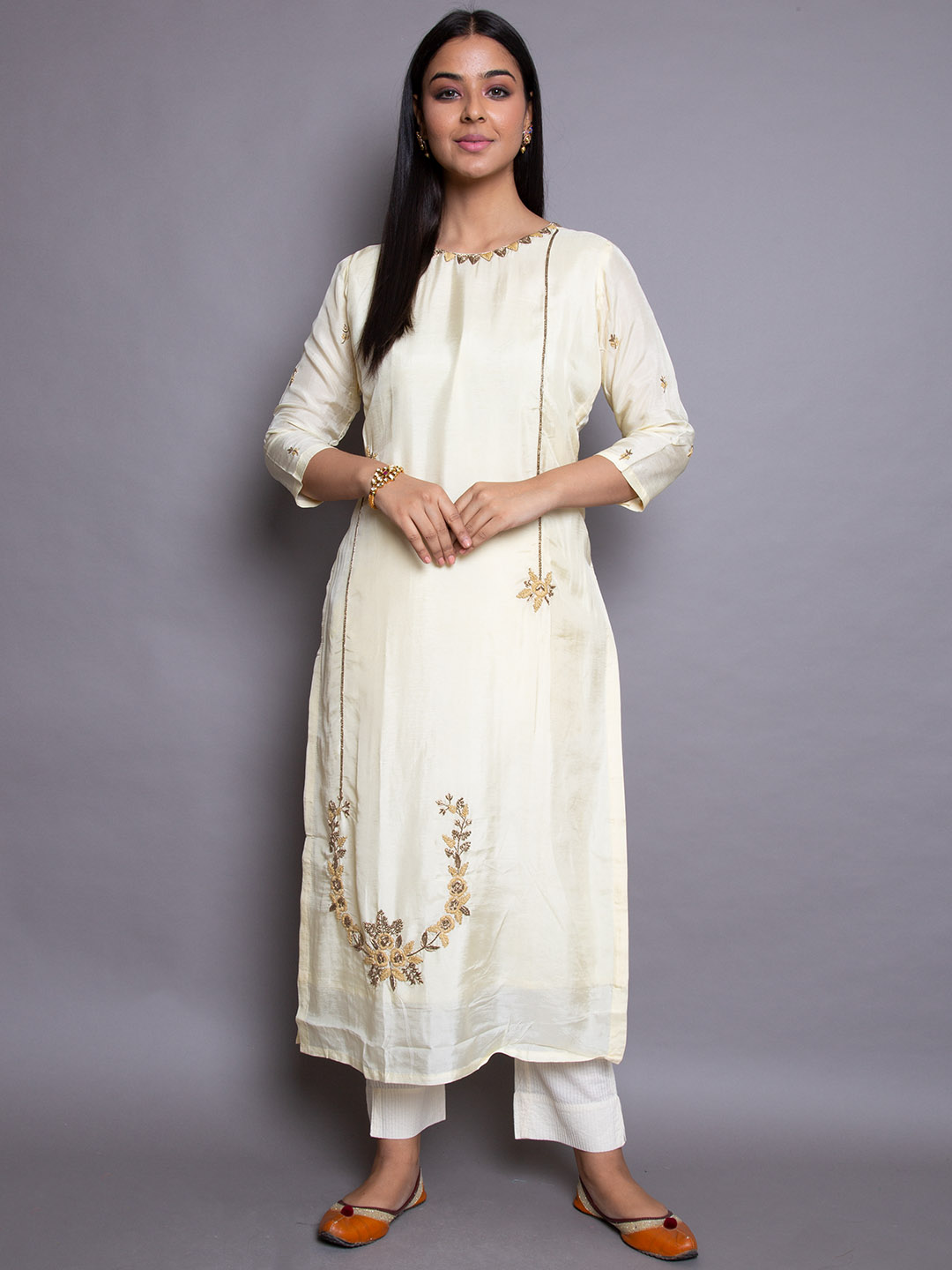 Pure Saffon Suit With Embroidery