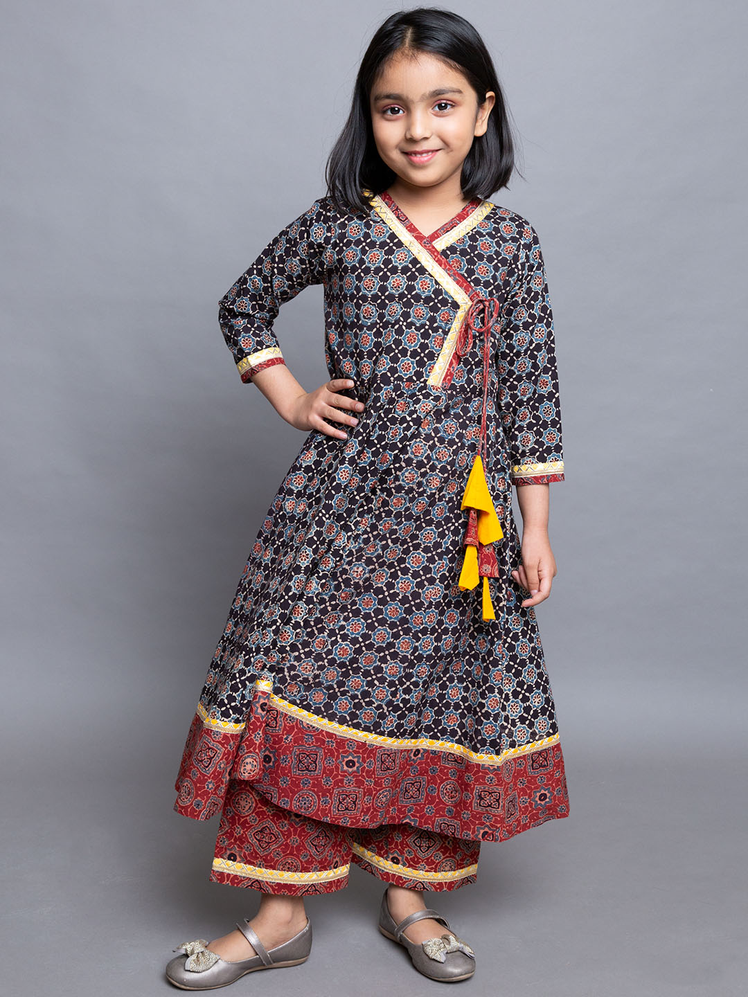 Black Red A-Line kurti with palazzo