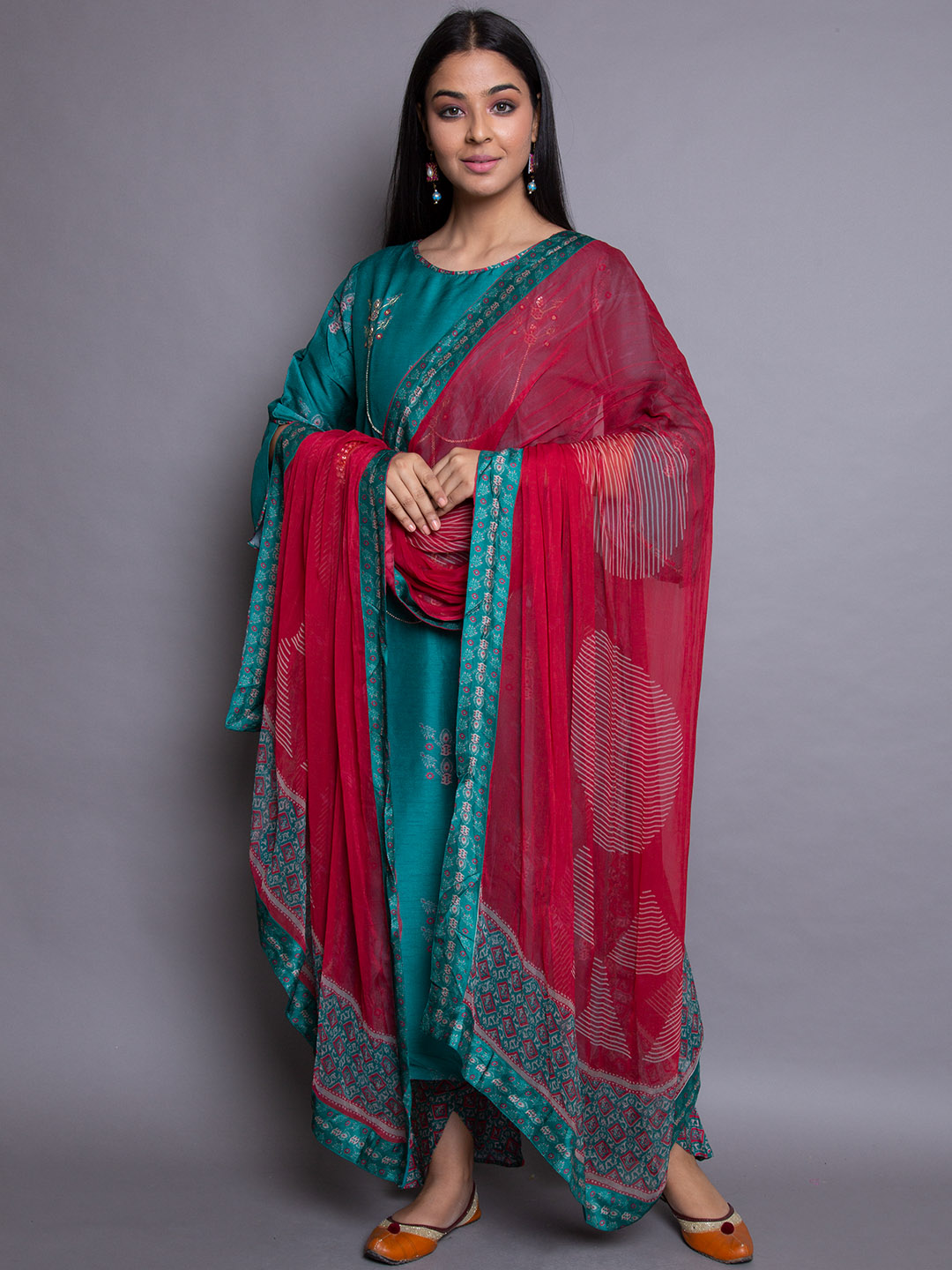 Green Zari Embroidery Suit
