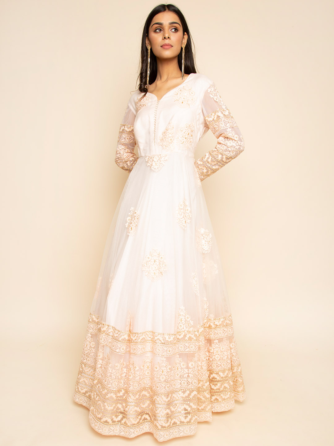 Heavy Embroidery Net Gown